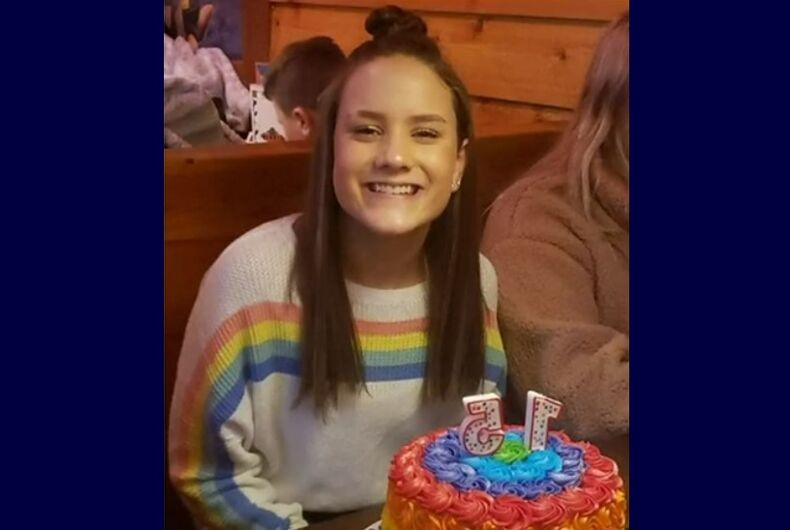 Kayla Kenney in the rainbow sweater