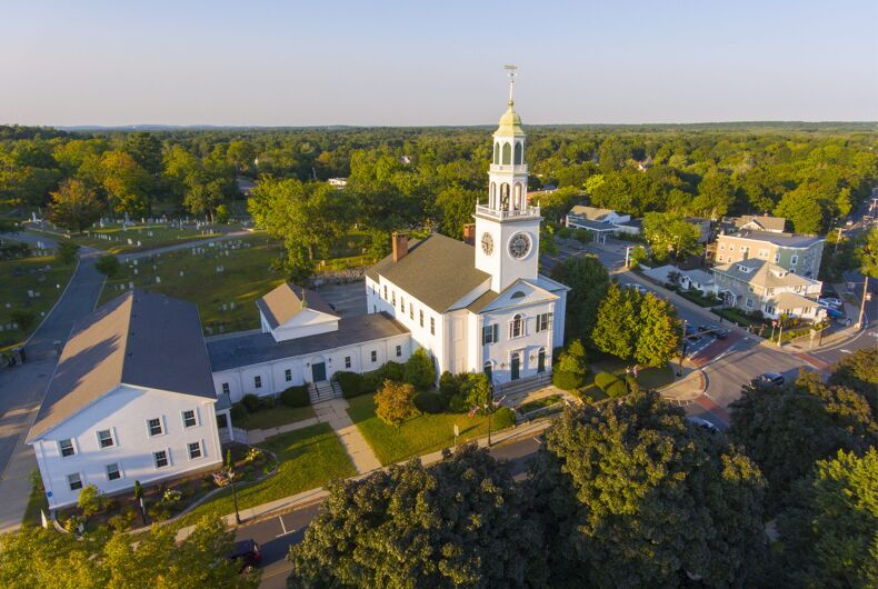 Aerial view of Old South United Methodist Church in the historic town center of Reading, MA
