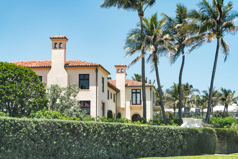 Palm Beach, USA - May 9, 2018: Mar-a-lago, presidential residence of Donald J Trump, American president in Florida with resort red tiled building with tiles