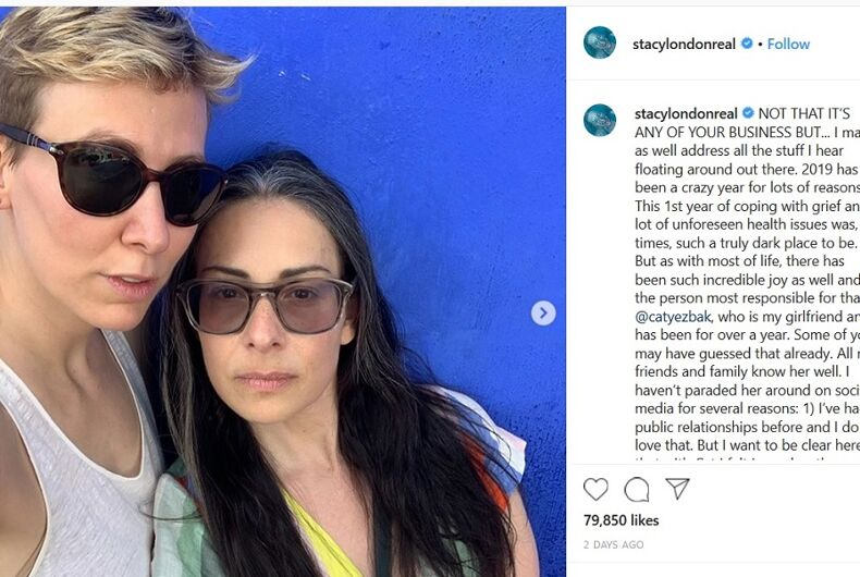 Stacy London's post announcing her relationship with Cat Yezbak