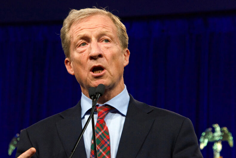 Presidential candidate Tom Steyer speaking at the Democratic National Convention summer session in San Francisco, California.