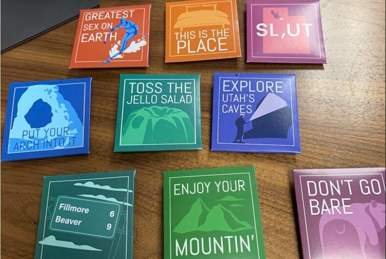 Nine of the condom packages with Utah jokes.