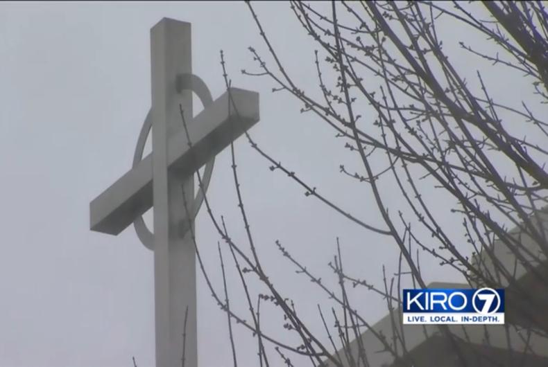 Cross on campus of Kennedy Catholic High School in Burien, WA.