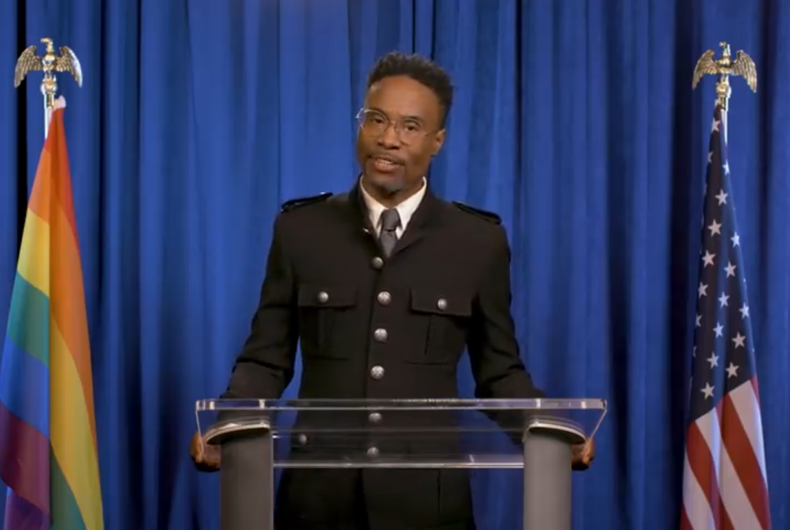 Entertainer Billy Porter addresses the LGBTQ community and Americans for the LGBTQ State of the Union, 2020.