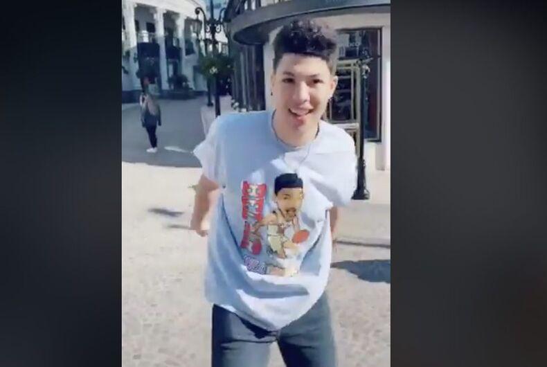 Teen social media personality Jackson Mahomes in a TikTok video