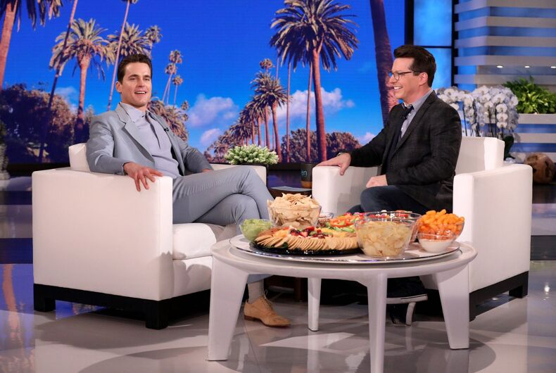 Matt Bomer and Sean Hayes on an episode of The Ellen DeGeneres Show, January 2020.