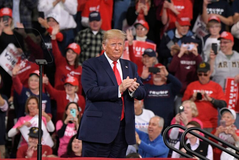 U.S. President Donald Trump attends a campaign rally on December 10, 2019 at Giant Center in Hershey, Pennsylvania.