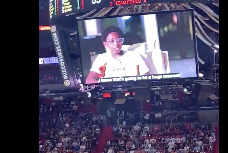 Zaya Wade on the Jumbotron as fans cheer