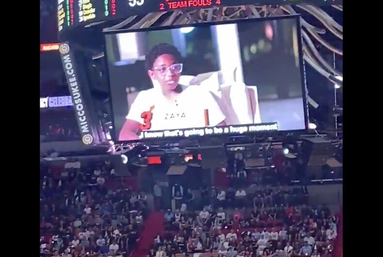 Zaya Wade on the Jumbotron as fans cheer