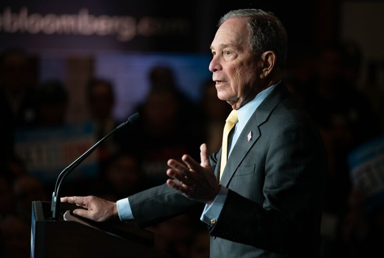 Democratic presidential candidate Michael Bloomberg addresses a crowd in Detroit, MI.