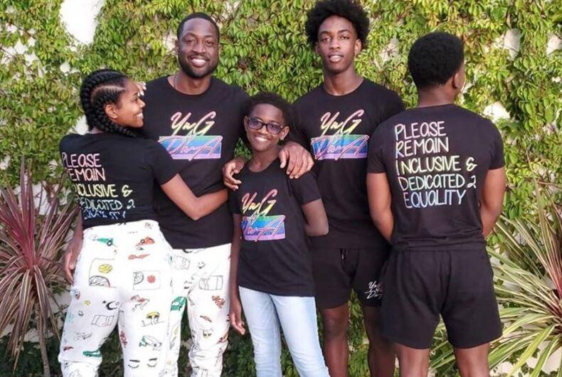 Dwyane Wade, Zaya Wade, and their family.