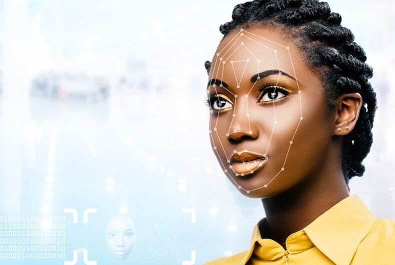 Facial recognition technology with lines on a woman's face