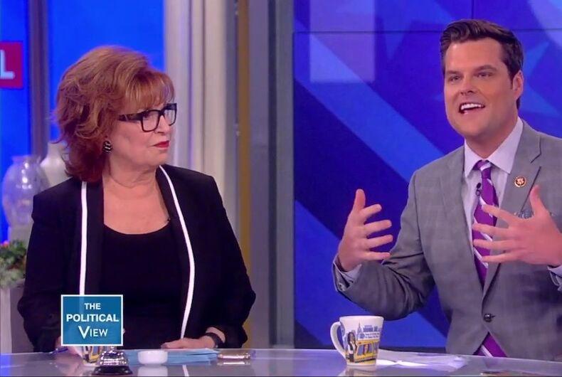 Matt Gaetz on The View discussing Trump's military ban