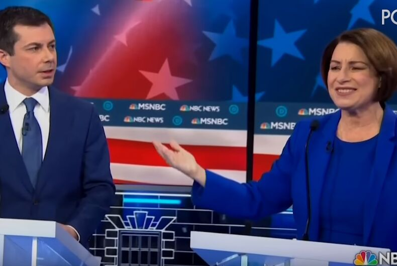 Pete Buttigieg and Amy Klobuchar at the Democratic debate