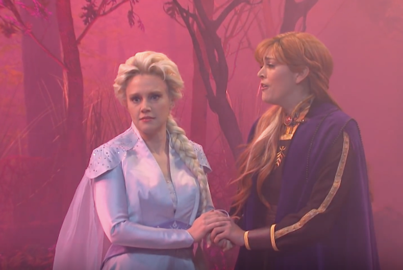Elsa, played by Kate McKinnon, and Anna discuss being gay in Saturday Night Live's
