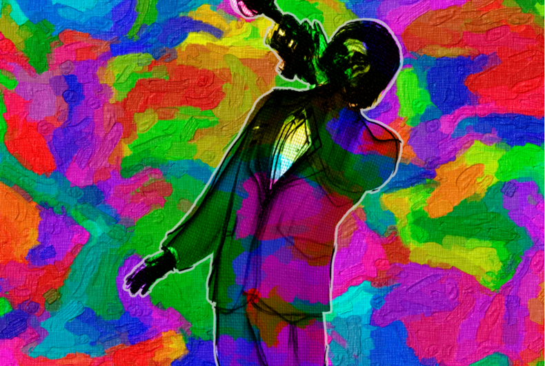 Vivid Multi Color Abstract Illustration of Classic Jazz Trumpet Player