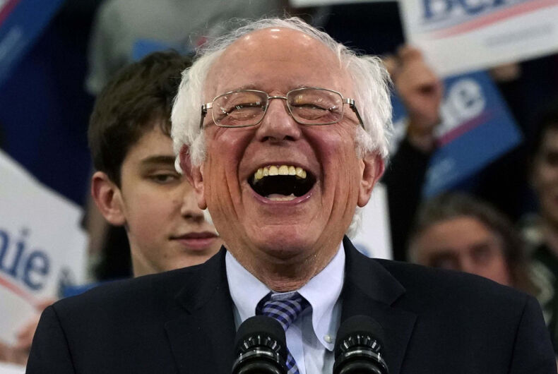 Montpelier/Vermont, Feb. 20, 2020: Bernie Sanders laughs during a rally