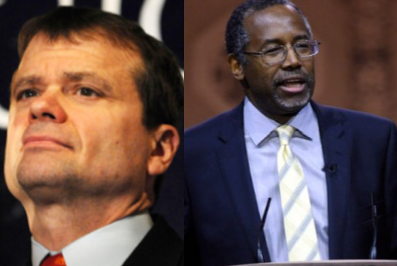 Rep. Mike Quigley (left) and HUD Secretary Ben Carson (right)