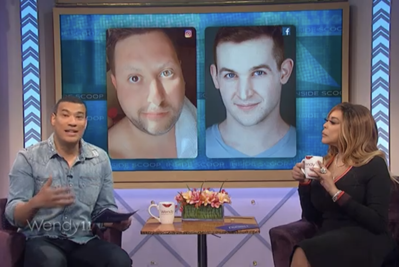 Screenshot of the segment of The Wendy Williams Show in which Ben Shimkus and Sherry Pie are discussed.