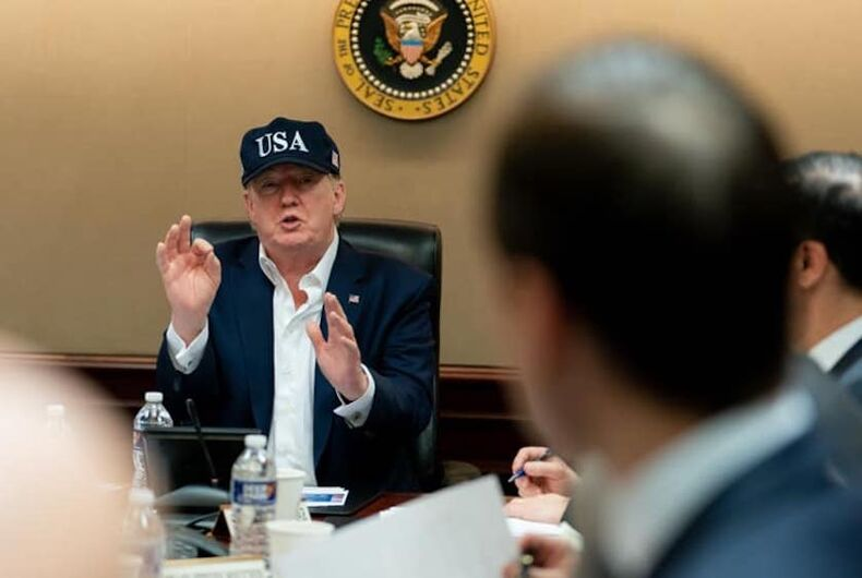 Donald Trump attending briefing on coronavirus.