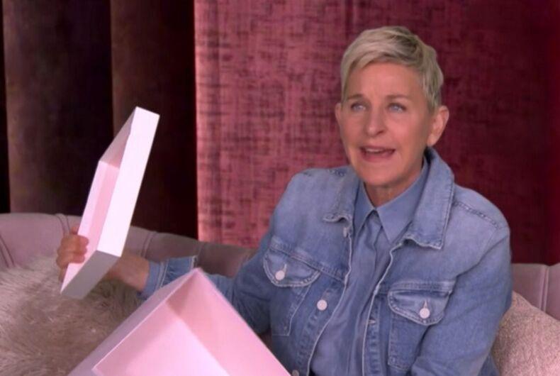 Ellen opening an empty box