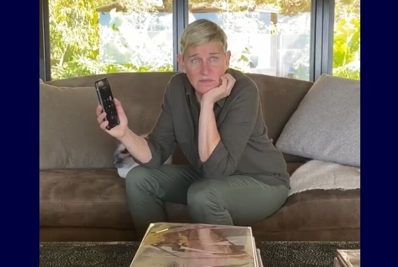 Ellen on the phone with Michelle Obama