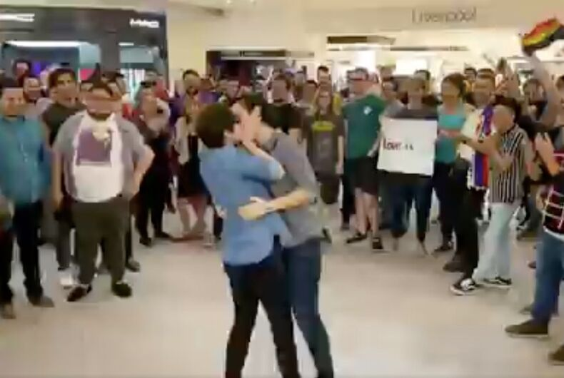 A scene from the Besotón vs Homofobia 2020 protest at the Galerías Monterrey mall in Monterrey, Mexico to demonstrate against the mall security kicking out a gay male couple for kissing in the mall plaza last Wednesday.