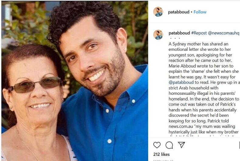 An Instagram post from Patrick Abboud, which has a picture of him with his mother Marie
