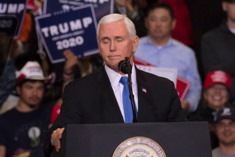 Vice President Mike Pence speaks at President Trump Re-election Rally at the LAS VEGAS CONVENTION CENTER. February 21, 2020