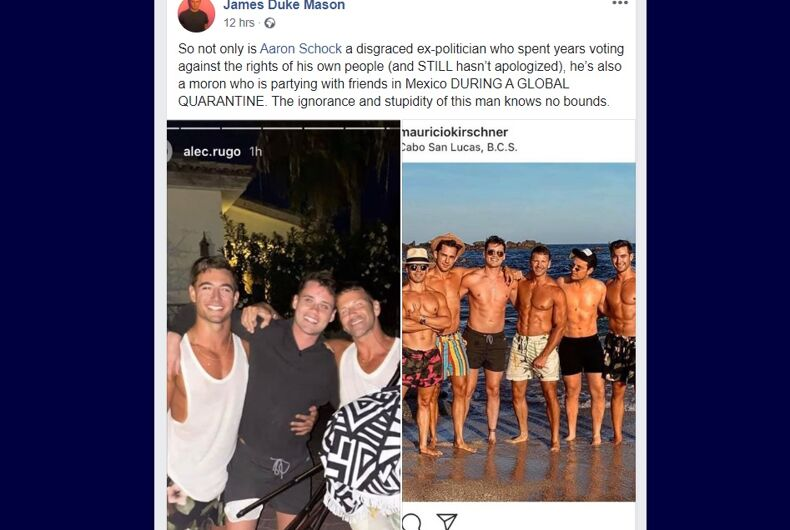 Facebook post with 2 pictures of Aaron Schock partying with shirtless boys. They all spend at least several hours a day in the gym, but not enough time reading about how respiratory diseases spread.