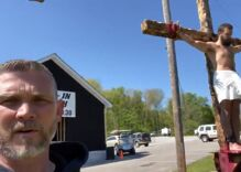 Coronavirus-defiant pastor held huge Easter service while his son reenacted the crucifixion outside