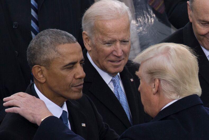 Barack Obama and Joe Biden at Donald Trump's 2017 inauguration.