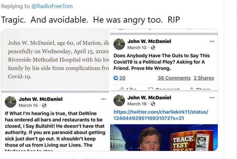 Various social media messages John McDaniel wrote about coronavirus