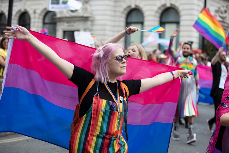 A bisexual flag at Pride in London in 2019.