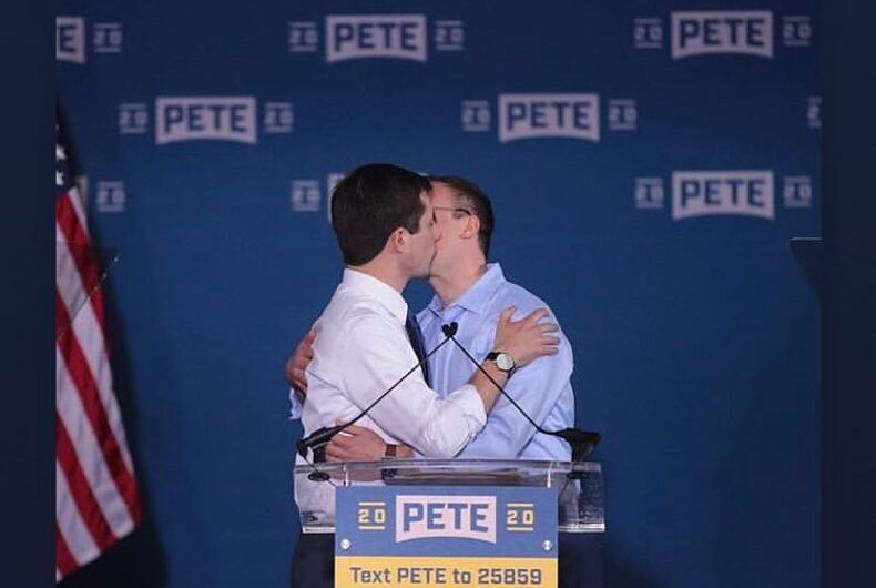 Pete Buttigieg kisses his husband, Chasten, after announcing he will run for the presidency.
