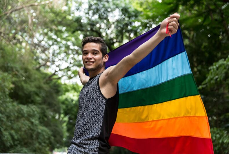 Pride flag in a park