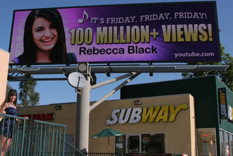 Rebecca Black at the unveiling of an LA billboard celebrating 100 million YouTube views in 2011.