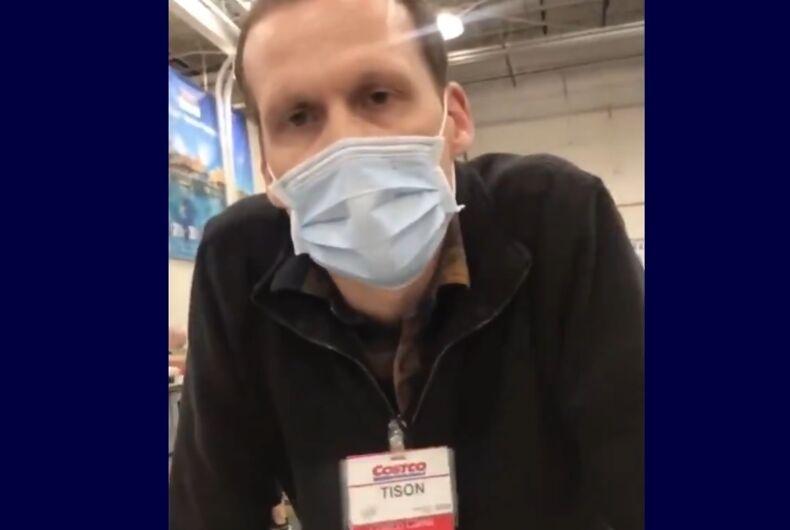 Costco's Tison in his mask, takin' no guff