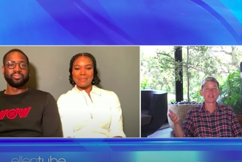 Dwayne Wade, Gabrielle Union and Ellen DeGeneres