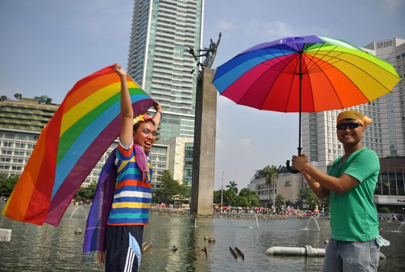 May 17, 2015: The International Day Against Homophobia, Biphobia, and Transphobia was marked with rainbow flags in Jakarta