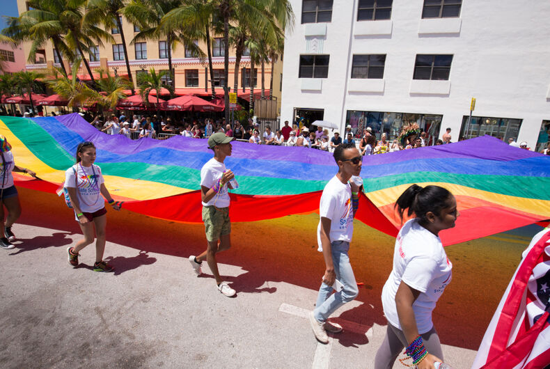 A group in Florida carries an LGBTQ Pride flag.
