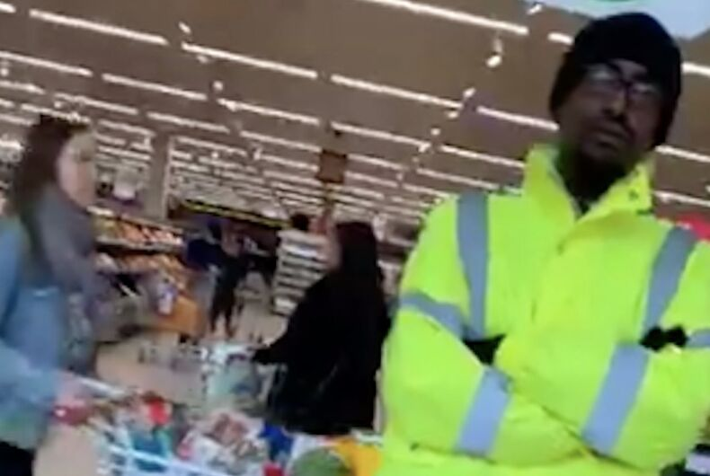 A shot of the Sainsbury's security guard from Jake Holliday's video.
