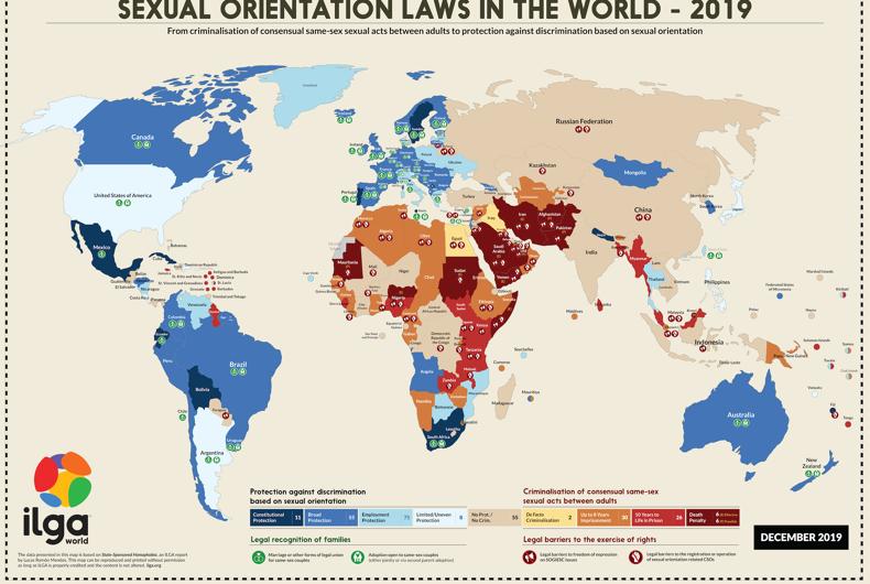 ILGA's map of LGBTQ laws