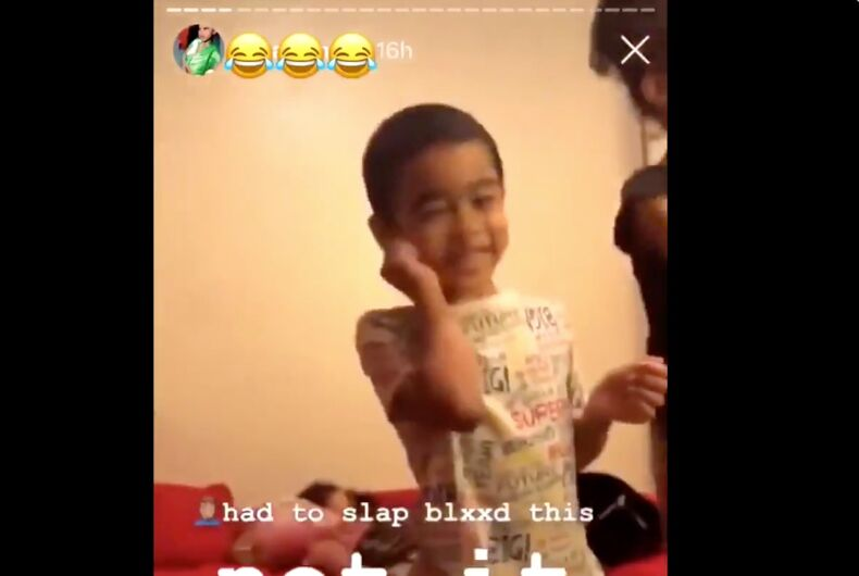 The child was slapped by his babysitter for dancing along to a TikTok video.