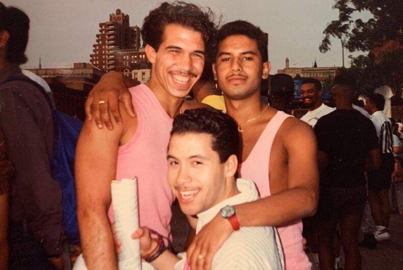 Freddy Pena, Jose Rodriguez and David at the West Side Piers during the Pride Parade, New York City, 1987.