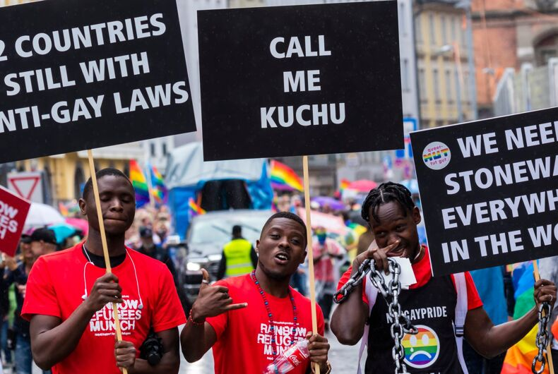 JULY 13, 2019: Munich rainbow refugees attending the Gay Pride parade also known as Christopher Street Day (CSD) in Munich, Germany.