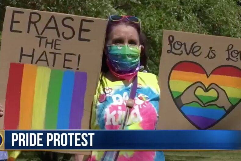 Residents protested in Watertown, New York after a vandal ripped down the town's pride flag.