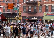 Shocking photo shows dozens of unmasked gay men partying on NYC street without social distancing
