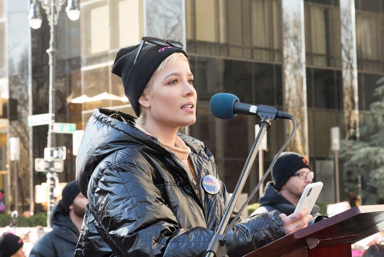 January 20, 2018: Halsey speaks at the Women's March in New York City
