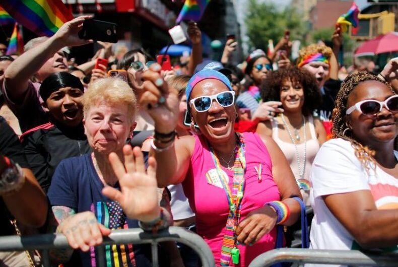 Joan Fischer (left) attending the New York City Pride Parade on June 24, 2018.